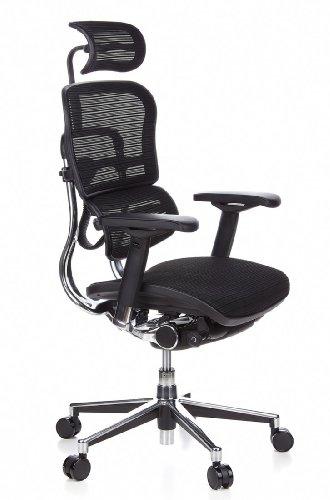 HJH Office 652111 Bürostuhl / Chefsessel Ergohuman Netz-Stoff, schwarz - 2