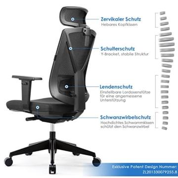 Intey Ergonomischer Schreibtischstuhl Belastbar Bis 200kg