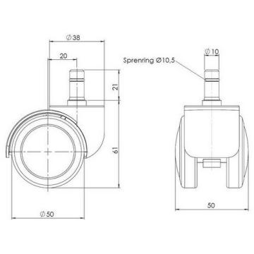 HJH OFFICE 619000 5x Hartbodenrollen 10 mm / 50 mm Büro-Stuhl-Rollen für Hartböden - 2