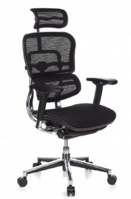 HJH Office 652111 Bürostuhl / Chefsessel Ergohuman Netz-Stoff, schwarz - 1