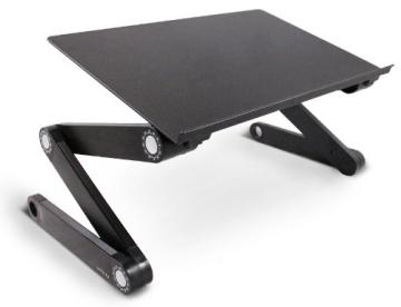 Lavolta Ergonomisch Notebook Laptop Ständer Tisch Bett Frühstück Tablett - Ausklappbare Ebenen - Aluminium - Schwarz - 1