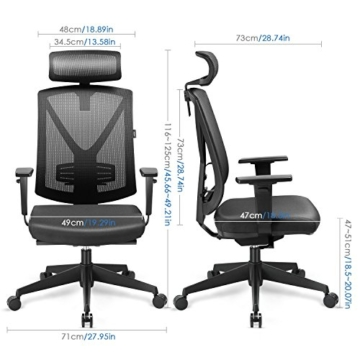 INTEY ergonomischer Bürostuhl Maße
